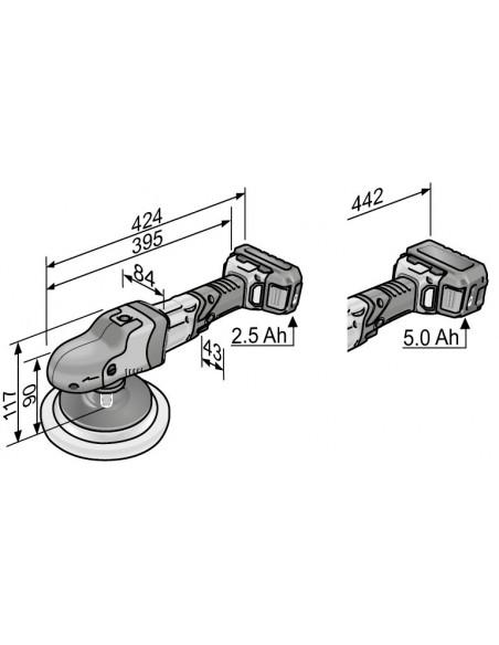 FLEX PE 150 18,0-EC/5,0Ah Set Rotorinis akumuliatorinis poliruoklis